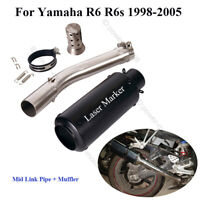 For Yamaha YZF R6 1998-2005 Motorcycle Exhaust Silencer Muffler Middle Link Pipe