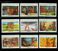 Bambi Disney set of 9 stamps mnh 1988 Grenada Grenadines #986a-1