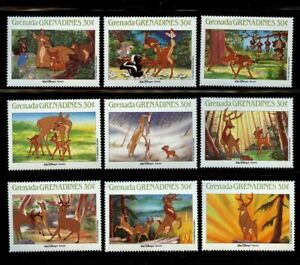 Bambi Disney set of 9 stamps mnh 1988 Grenada Grenadines #986a-1