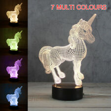 US 220V Unicorn 7 Colors Night Light Changing LED Table Desk 3D Lamp Kids Gift