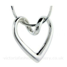 ABSTRACT HEART PENDANT NECKLACE, Sterling Silver Plate, Snake Chain, Valentine