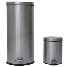 Combo 8 Gallon & 1.3 Gallon Trash Can with Removable Buckets Brushed Stainless