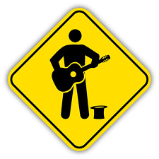 "Musicians Warning Sign Car Bumper Sticker Decal 5"" x 5"""