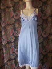 Vintage Blue Silky Nylon Lacy Empire Slip Nighty Lingerie 34