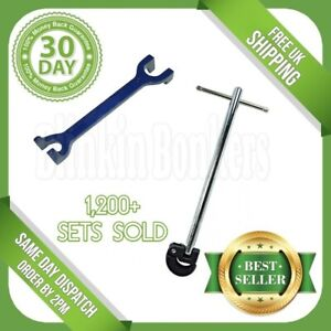 """PLUMBERS 15mm 22mm FIXED BASIN WRENCH & 11"""" ADJUSTABLE TAP NUT SPANNER BATH SINK"""