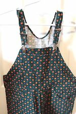 Beautiful Home Hand Made Green with Orange flowers Overalls Size 3T