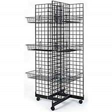Only Hangers 4 Way Gridwall Display w/ Casters & 12 Baskets- Black