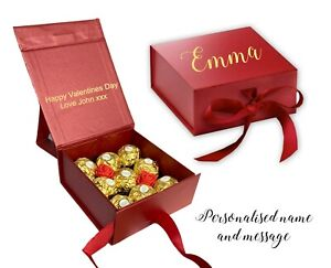 Personalised red valentines day gift box Ferrero Rocher chocolate rose gold foil
