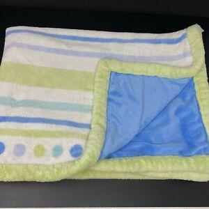 Baby Starters Blanket Blue Green White Stripes Polka Dots Plush Green Trim Lovey
