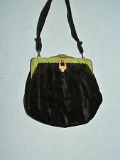 1930's Black Silk Velvet Purse w Green  Frame