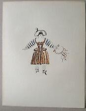 GEORGES BRAQUE Gravure d'une AQUARELLE portrait etude de femme mode de Moliere