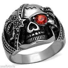 Mens Dark Orange Crystal Skull Silver Stainless Steel Ring