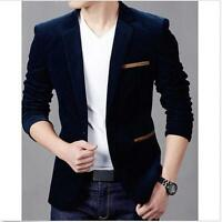 SLIM  Fashion Men's Slim Fit Stylish Casual One Button Suits Coat Jacket Blazers