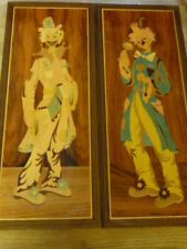 Pair of Italian Sorrento Inlaid Wooden Marquetry Clown Plaques by Gabriella