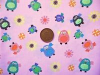 PINK WITH A DESIGN OF MULTICOLOUR OWLS - 100%COTTON FABRIC FQ'S