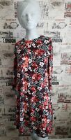 Marks&Spencer Black Red Floral Dress 3/4 sleeve size 12 UK