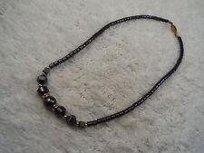 Hemetite Rhinestone Bead Necklace (C62)