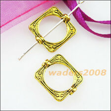 12 New Charms Square Circle Spacer Frame Beads 14x15.5mm Antiqued Gold
