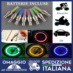 Luci per ruote per pneumatici per auto 4Pack Energia solare per bici per moto Ruote per auto Tappo per valvole per pneumatici Lampada per flash stroboscopici a LED per auto Moto Luci per ruote per pne