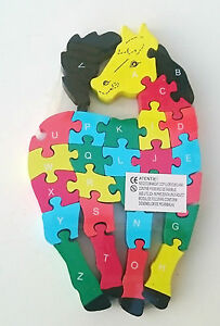 Wooden jigsaw/puzzle steed with numbers and letters,colorful educational toy