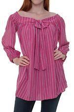 Locker sitzende gestreifte taillenlange Langarm Damenblusen, - tops & -shirts