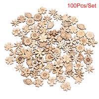 100pcs Mixed Patter Doodle Toy Natural Wooden Slice Scrapbook DIY Craft Mak pn