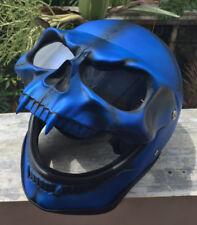 Motorcycle Helmet Monster Skull Visor Shield Ghost Rider Full Face Blue Death