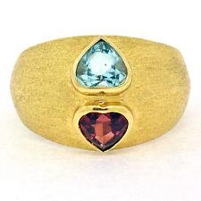 18K Yellow Gold 2.0ctw Heart Shaped Bezel Set Blue Topaz & Garnet Wide Band Ring