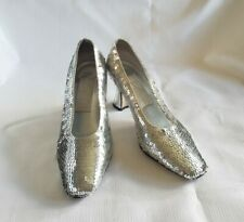 Dolce By Pierre Womens Shoes Size 6 M Silver Sequin Kitten Heels Party Vintage