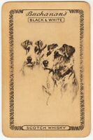 Playing Cards Single Card Old BLACK WHITE Whisky Advertising Art TERRIER Dogs 1