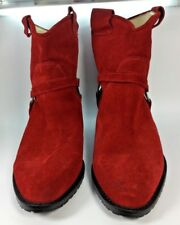 DIAVOLEZZA Red Suede Ankle Western Bootie Size 38