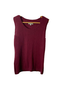 Jigsaw Ladies Vest top Size M Pure Cashmere Wool Raspberry Red Knit
