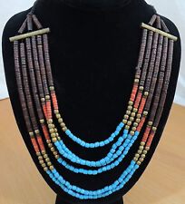"""6 Multi Strand 14"""" Metal Bar Brown Red Turquoise & Gold Beaded Necklace"""
