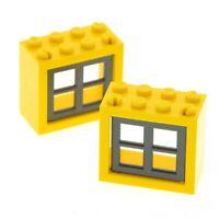 2x Lego Fenster Rahmen gelb 2x4x3 Fensterkreuz neu-dunkel grau 4218647 4132c03