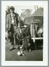 #754 What a Haul! Man With Dead Game, Hunting Dog, Rifle, Gun, Vintage Photo