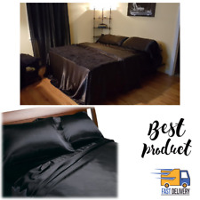 Satin Sheets Queen Size Soft Silk Feel Bedding 4Pc Set Luxury Bed Linen Black