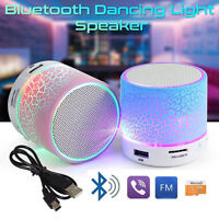 Mini Bluetooth LED Dancing Light Wireless Stereo Speaker Bass With USB FM SD/TF