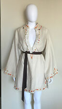 "NEW $409 MEGHAN FABULOUS ""LAIQI"" TAN LINEN COTTON BOHO TUNIC DRESS 4 SMALL S"
