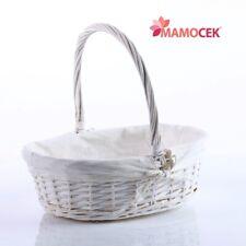 CESTO nascita VIMINI bianco ovale c40 cestino porta bomboniere confezioni Shabby