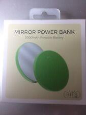 Bits Mirror Power Bank 2000mAh Portable Battery - Lime Green Free Shipping