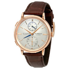 A. Lange and Sohne Saxonia Automatic Dual Time Silver Dial Mens Watch 386.032
