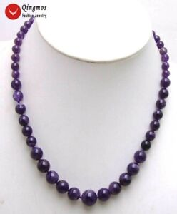 6-12mm Perfect Round Graduate Natural Amethyst Necklace for Women Jewelry 18''