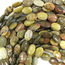 "18mm multicolor picasso jasper flat oval beads 15.5"" strand S1"