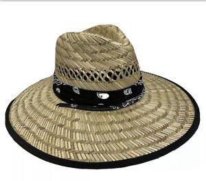 MEN'S SUMMER HAT STRAW SUN LIFEGUARD BEACH HAT RAFFIA WIDE BRIM, ONE SIZE
