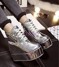 Gold Womens Ladies Chic Hidden Wedge Heel Platform Trainer Boots Sneaker Lace Up