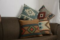 4 Set of Wool Jute Throw Indian Pillow Cover Vintage Handmade Kilim Rugs 10005