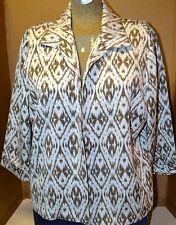 Chico's Size 3 Brownish Gray and White Geometric Print Jacket Blazer 3/4 Sleeve