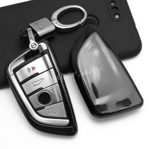 For New BMW Black Car Key Chain Fob Case Cover Ring Protector Accessories
