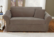Sofa Slipcover Sure Fit Stretch Pique Taupe with Loose Back Box Style  3 Piece