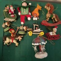 Vintage Christmas Ornament LOT of 10 Elf Angel Wooden Horse bear santa carousel